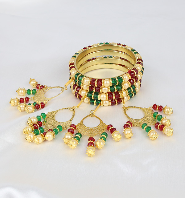 Multicolor 4 Bangles With Tassels For Girls (BH-52)