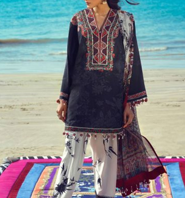 New Arrivals - Lawn Emboidery Suit With Chiffon Printed Duppata (DRL-487) (Unstitched)
