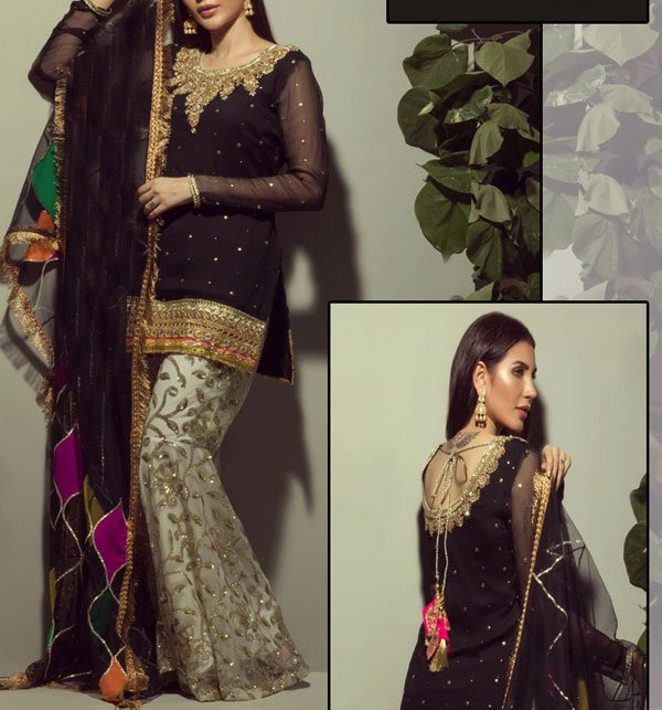 8493b29fd2 UnStitched New Black Embroidered Chiffon Suit With Chiffon Duppata Price in  Pakistan