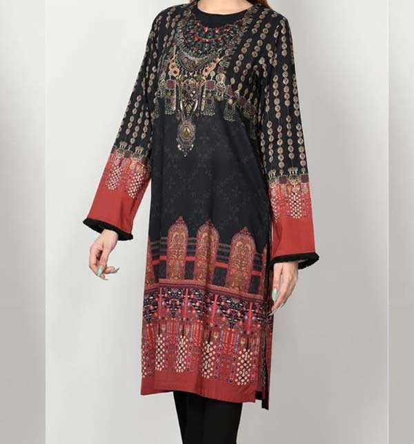 Linen Embroidered Dress With Wool Shawl UnStitched (LN-180)
