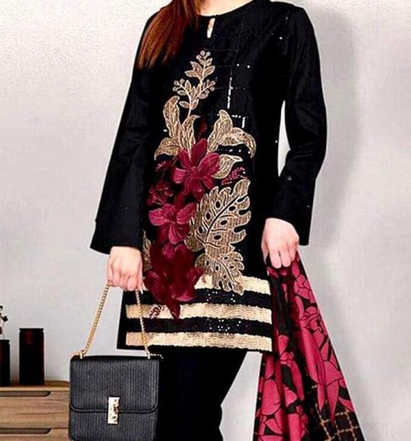 Velvet Embroidery 2PC Suit Jamawar Trouser (UnStitched) (CHI-310)