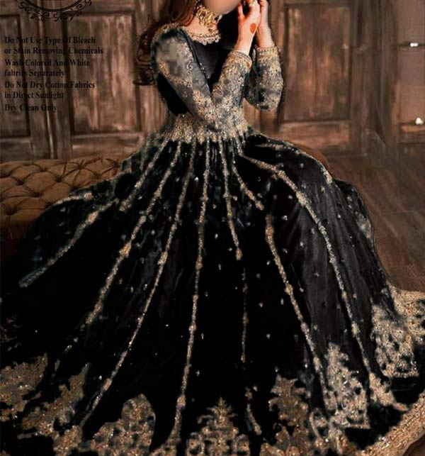 Black Heavy Embroidered Dress With Net Embroidered Dupatta (CHI-498)