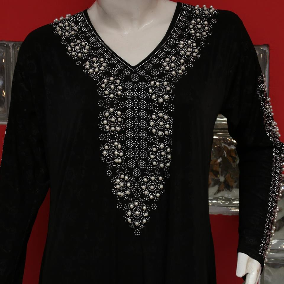 Jersey Abaya Pearls Work With Scarf 2020 (AB-54)