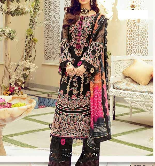 New Black Lawn Embroidered Suit With Chiffon Dupatta  (DRL-807)