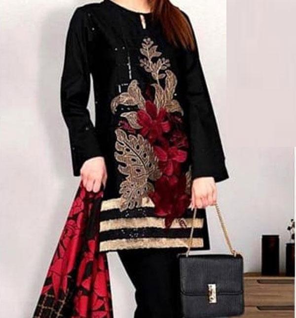 Khaddar Embroidery Dress 2020 With Wool Dupatta (KD-70) (UnStitched)