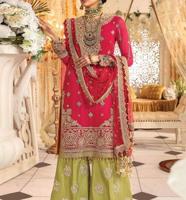 Fancy Chiffon Embroidered Dress Design 2021 With  Net Dupatta (CHI-502)