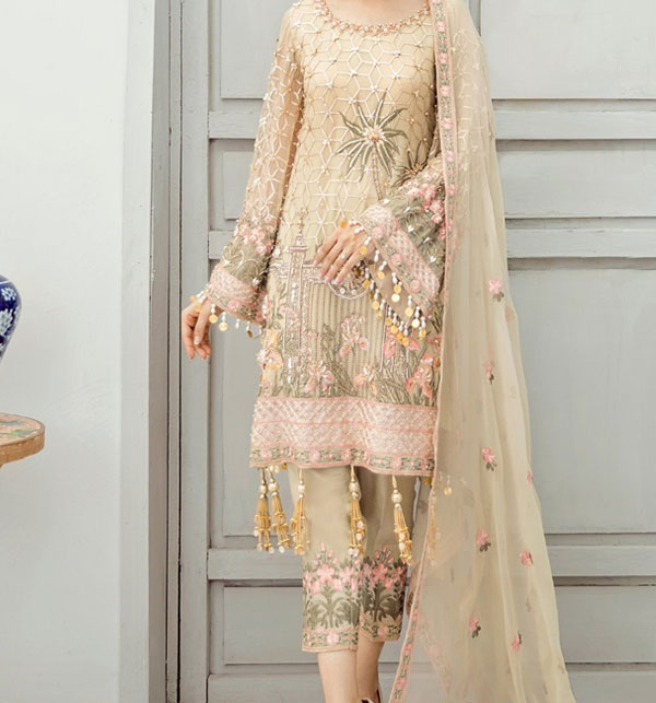 New Chiffon Embroidered Suit With Chiffon Embroidered Dupatta Unstitched (CHI-388)