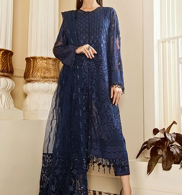 New Chiffon Embroidery Suit With Net Embroidery Duppata (CHI-376)