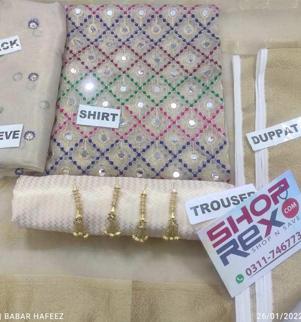 Banarsi Paper Cotton Full Heavy Embroidery Dress With Organza Dupatta Masorri Trouser (DRL-949)