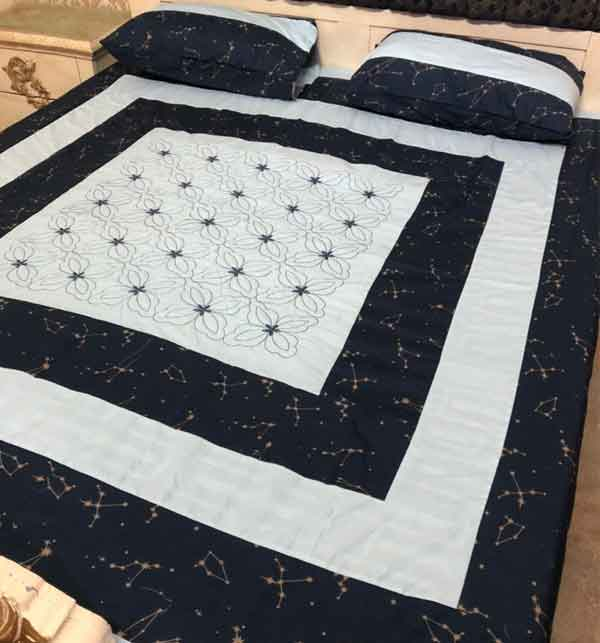 New Cotton PatchWork Bed Sheet Design 2021 with 2 Pillow Covers  (BCP-18)