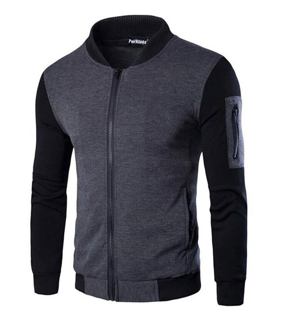 New Design Mens Gray Full Sleeves Zipper Jacket