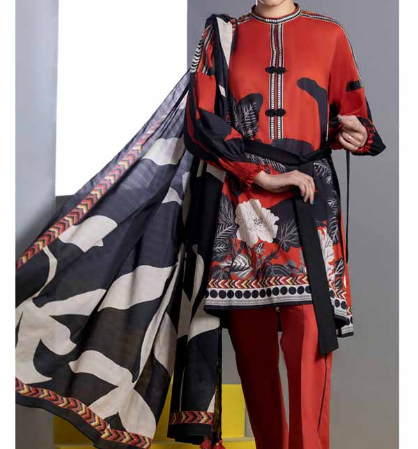 New Digital Printed Lawn Suit With Lawn Dupatta (DRL-847)