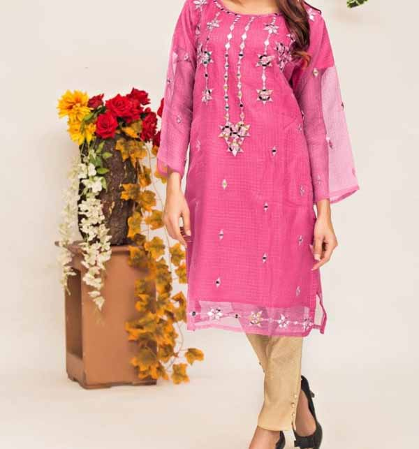 Stitched Eid Organza Collection Shasha Embroidery Work With Banarsi Trouser (Stitched) (CHI-455)