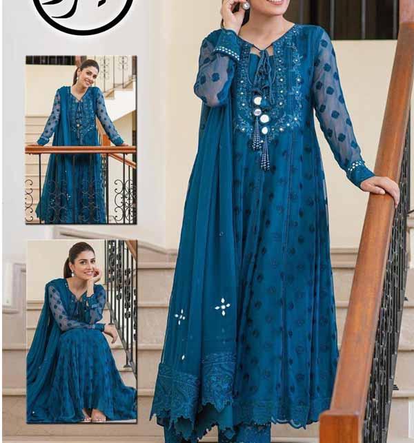 Chiffon Embroidered Dress With Heavy Embroidered Mirrorwork Chiffon Dupatta (CHI-464)