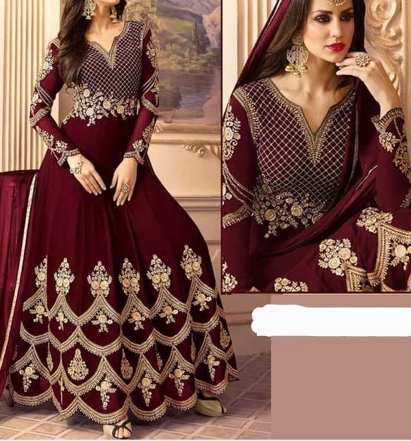 Chiffon Embroidered Marron Dress With Chiffon Dupatta - Bridal Collection 2021-22 (CHI-497)