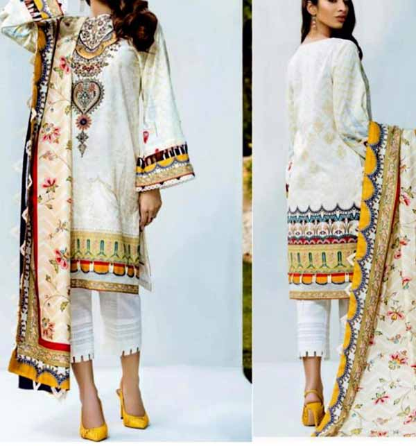 Lawn Embroidered Dress 2021 with Chiffon Dupatta (DRL-754)