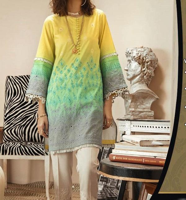 Schiffli Embroidered Lawn Dress with Chiffon Dupatta (Unstitched ) (DRL-514)