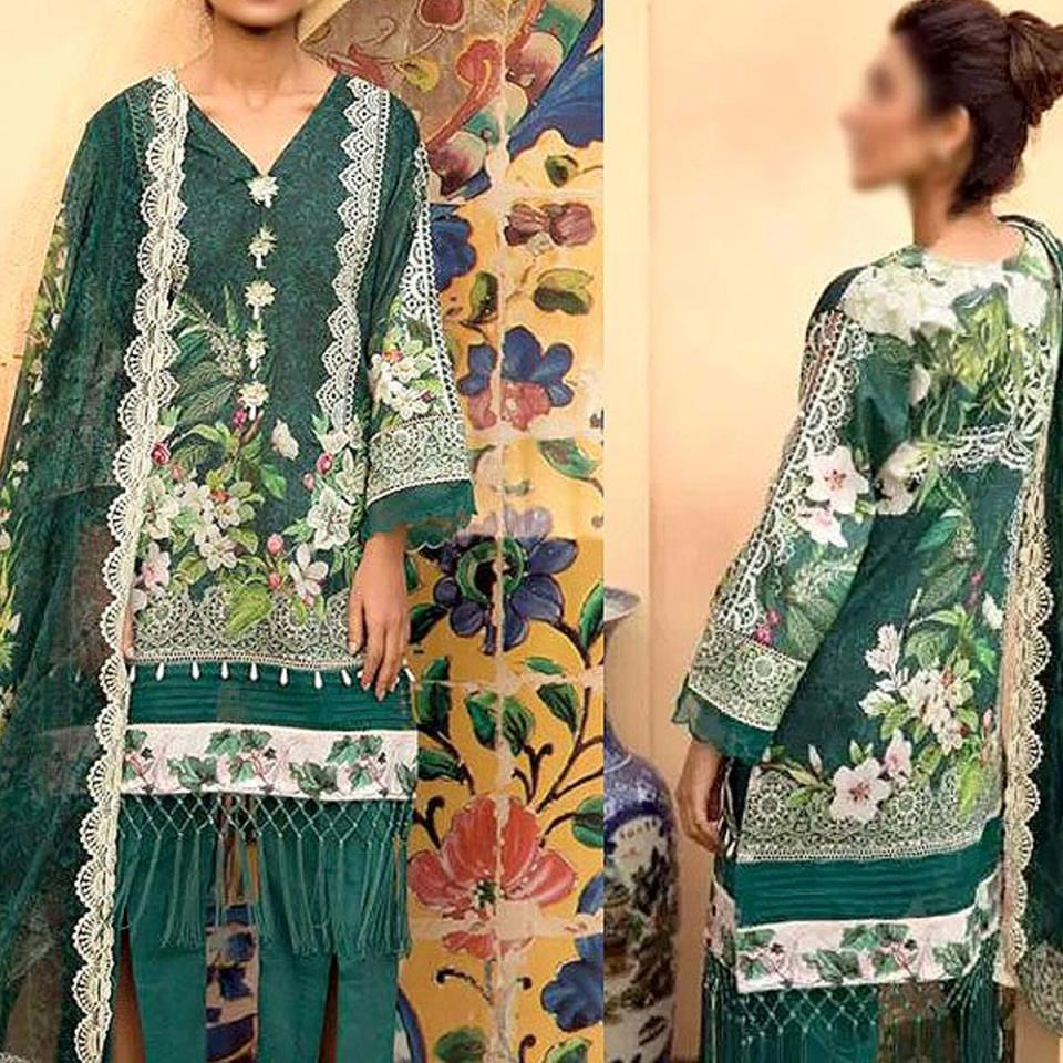 Heavy Embroidered Lawn Suit with Lawn Dupatta  - (DRL-432) (UnStitched)