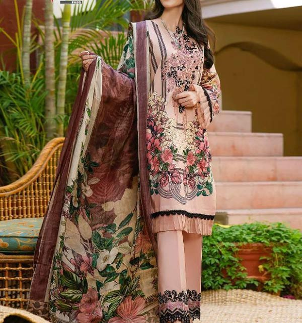 Linen Embroidered Dress 2021-2022 with Linen Dupatta (LN-251)
