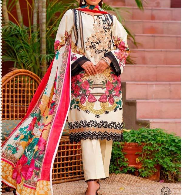 Linen Embroidered Dress 2021-2022 with Linen Dupatta (LN-252)