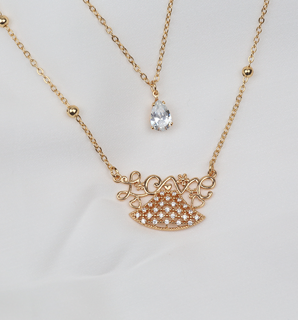 Love Double Chain Necklace For Women  (PS-253)