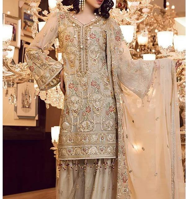 Masoori Full Emroidered Dress With Mahsori Embroidered Dupatta NET Emb Plazo Ghair Style (CHI-508)