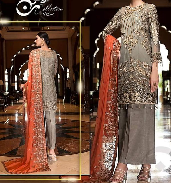 New Heavy Chiffon Embroidered  Suit With Chiffon Duppata unstitched (CHI-386)