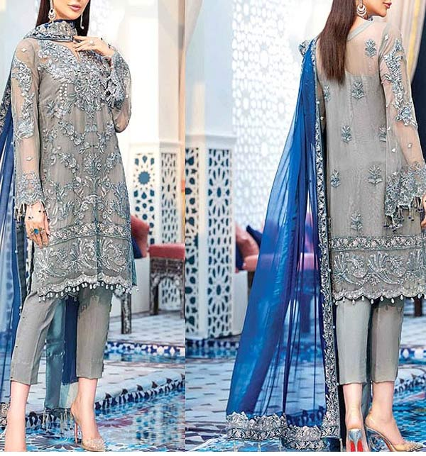 NET Heavy Embroidered Wedding Dress Embroidered Net Dupatta with Hanging Tassels (CHI-488)