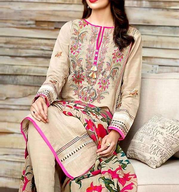 Linen Heavy Embroidered Dress 2020/2021 with Wool Shawl Dupatta UnStitched (LN-170)