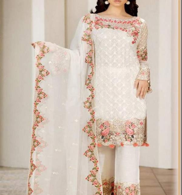 Fancy Heavy Chiffon Embroidered Suit Design With Chiffon Dupatta (CHI-504)