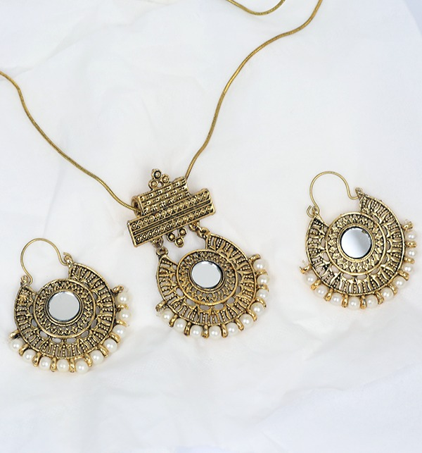 Antique Shisha Necklace With Earrings (PS-180)