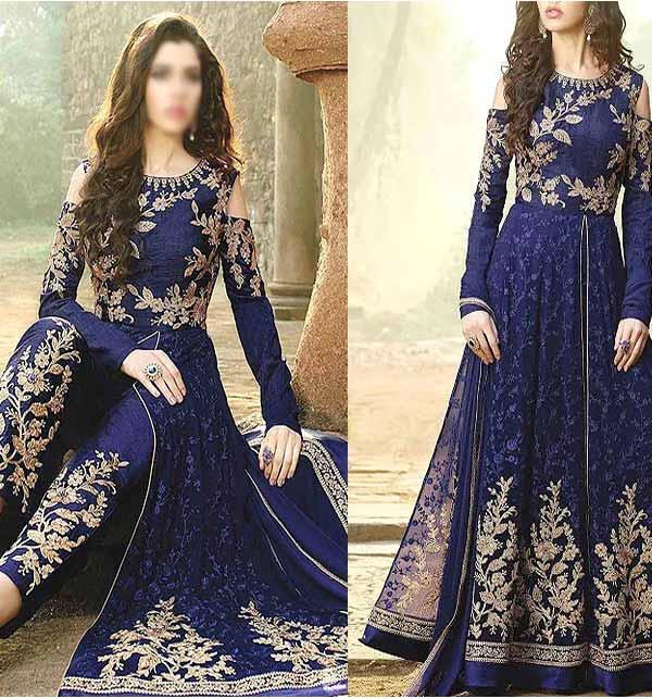 Beautiful Chiffon Embroidered Maxi Dress  4-Side Embroidered Dupatta (CHI-433)