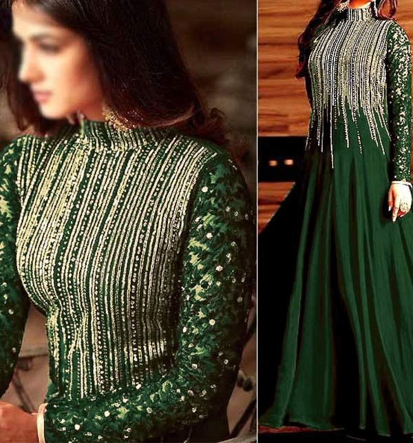 New Indian Embroidered Green Chiffon Maxi Dress (Unstitched) (CHI-524)