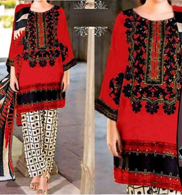 Marina Embroidered Dress With Marina Shawl Dupatta (KD-141)