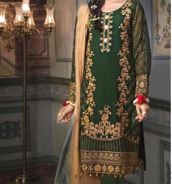 Khadder Embroidered Dress with Wool Shawl Dupatta  (Unstitched) (KD-131)