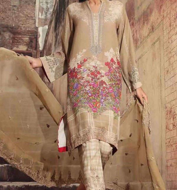New Khadder Embroidered Suit with Wool Dupatta - Winter Collection 2020 (KD-84) (UnStitched)