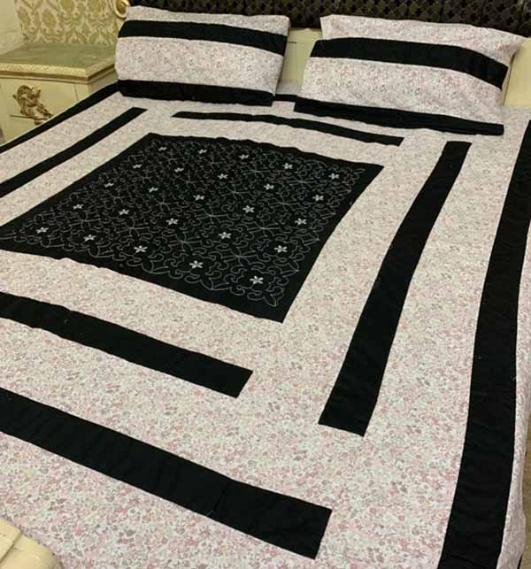 New King Size Cotton PatchWork Bed Sheet With 2 Pillow Cover (BCP-43)