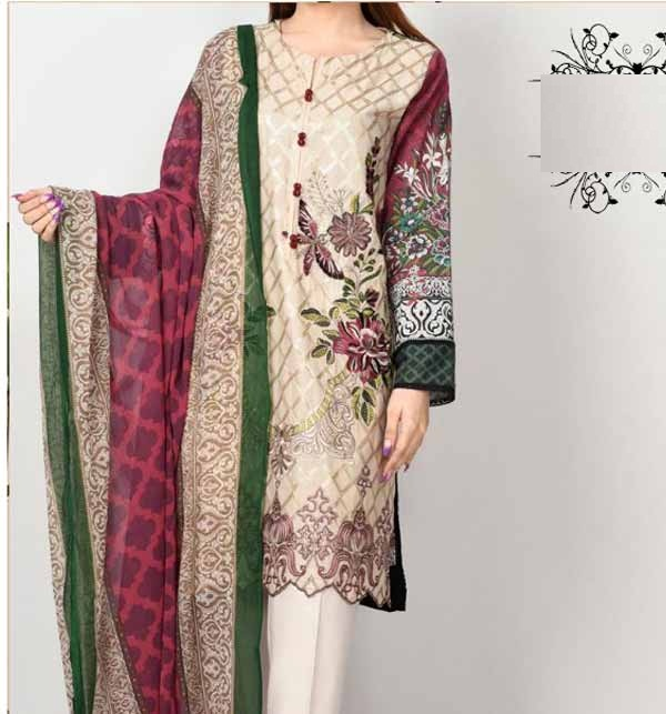 New Lawn 90/70 Embroidered Suit With Chiffon Dupatta (DRL-682)