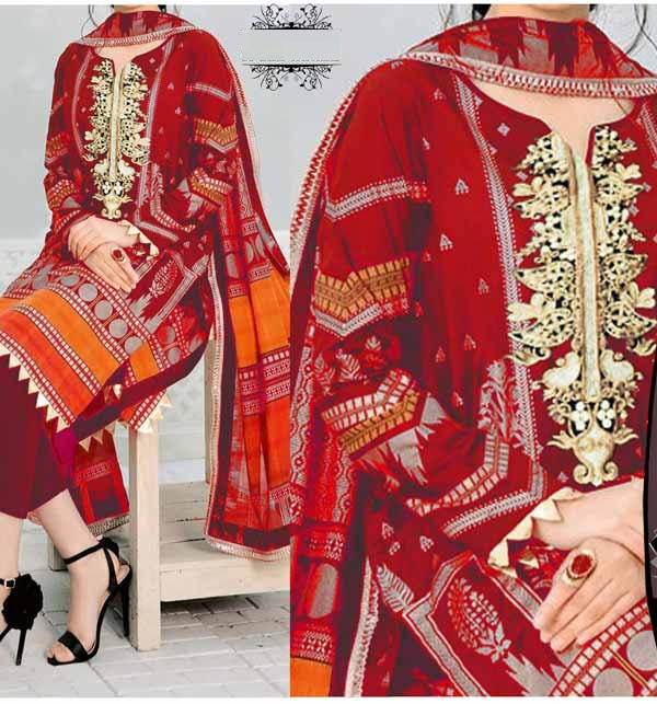 Lawn Embroidered Dress With Chiffon Dupatta 3PC SUIT  (DRL-884)