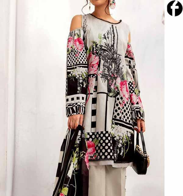 Lawn Embroidered Dress With Chiffon Dupatta 3PC SUIT (DRL-906)