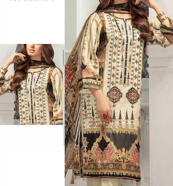 New Lawn Embroidery Suit With Chiffon Dupatta  (DRL-894)