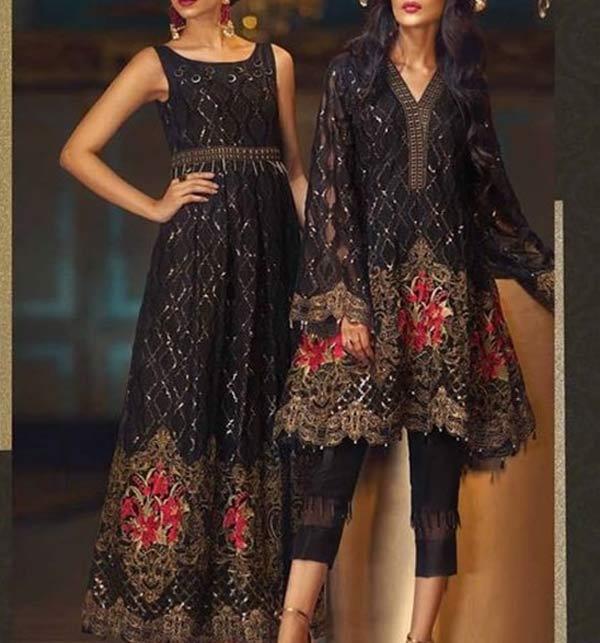 Linen Sequence Embroidered Dress Emb Trouser 2 Pcs Dress (Unstitched) (LN-264)
