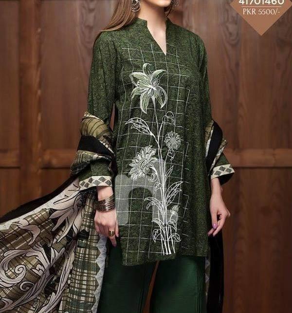 New Khaddar Embrodiered Dress With Wool Shawl Dupatta (Unstitched) (KD-143)
