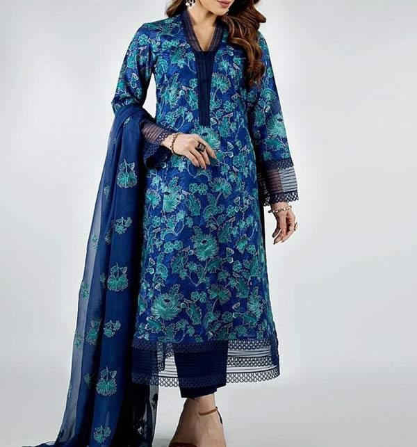 New Linen Embroidered Dress With Bamber Dupatta (Unstitched) (LN-263)