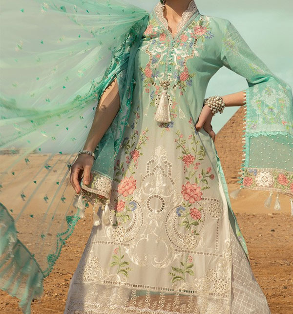 Luxery Fully Heavy Embroidered Schifflie Cut Work UnStitched (DRL-598)