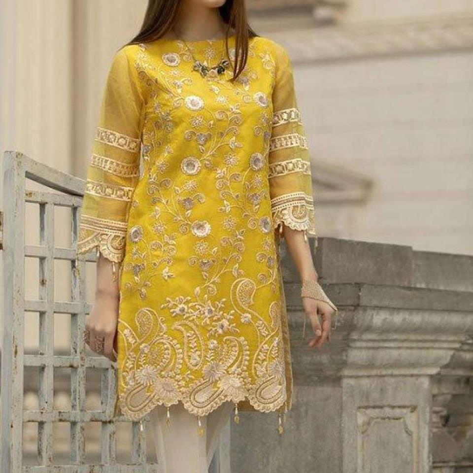 32e5cf9465 Full Embroidered Chiffon Kurti With Inner (EK-121)