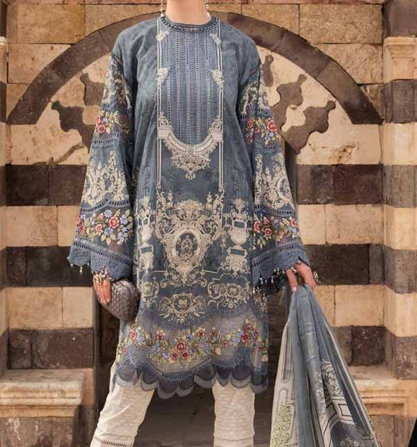 New Luxury Lawn Collection 2021 With Chiffon Printed Dupatta (DRL-852)