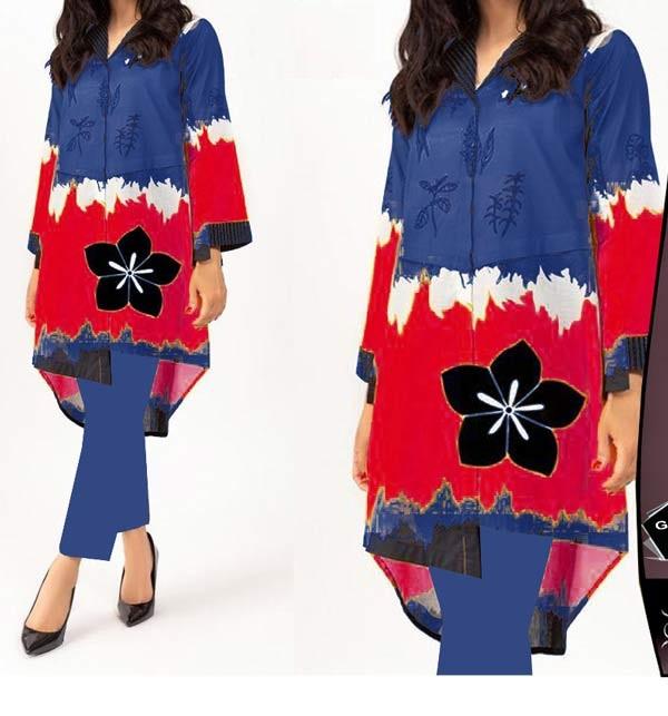 New Marina Embroidery Dress With Marina Shawl (Unstitched) (KD-148)