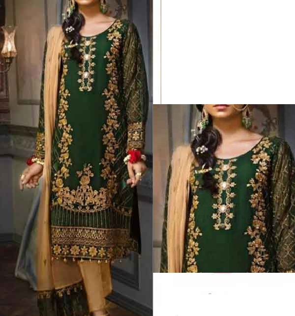 New Neck Embroidered Lawn Suit With Lawn Dupatta Un-Stitched (DRL-676)