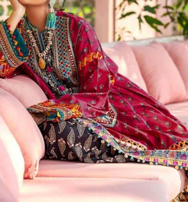 New Neck Embroidery Lawn Suit for Women - (DRL-499)